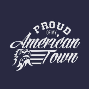 Proud of My American Town - Women's Short Sleeve V-neck T-shirt - Navy Blue Design