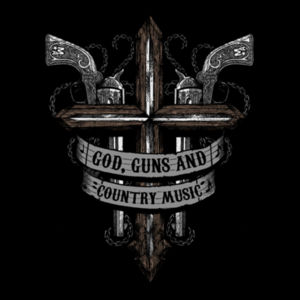 God, Guns and Country Music Hand Drawn - Pullover Hoodie - Black Design