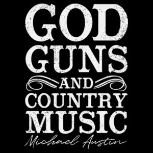 GOD GUNS COUNTRY MUSIC - BACK & FRONT PRINT - BACK/FRONT PRINT - PREMIUM WOMEN'S S/S TEE - BLACK Design