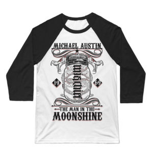 Mischief/Mayhem Ambigram - 3/4 Sleeve Baseball T-shirt - White/Black Thumbnail