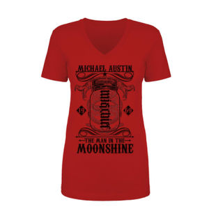 Mischief/Mayhem Ambigram - Women's Short Sleeve V-neck T-shirt - Red Thumbnail