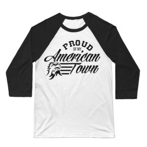 Proud of My American Town - 3/4 Sleeve Baseball T-shirt - White/Black Thumbnail