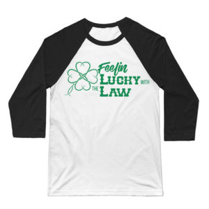 Feelin' Lucky - 3/4 Sleeve Baseball T-shirt - White/Black Thumbnail