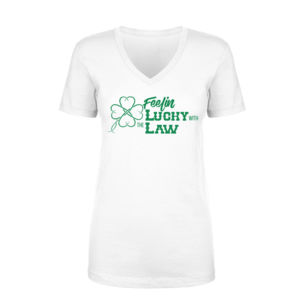Feelin' Lucky - Women's Short Sleeve V-neck T-shirt - White Thumbnail