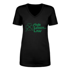 Feelin' Lucky - Women's Short Sleeve V-neck T-shirt - Black Thumbnail