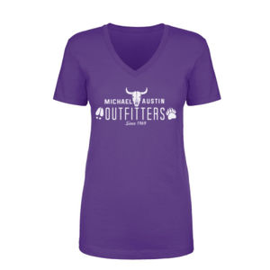 Michael Austin Outfitters - Women's Short Sleeve V-neck T-shirt - Purple Thumbnail