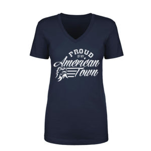Proud of My American Town - Women's Short Sleeve V-neck T-shirt - Navy Blue Thumbnail