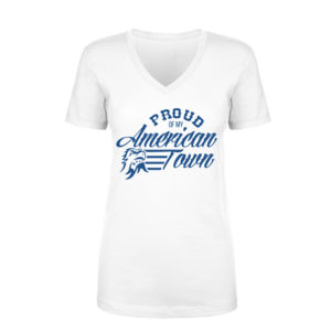Proud of My American Town - Women's Short Sleeve V-neck T-shirt - White Thumbnail
