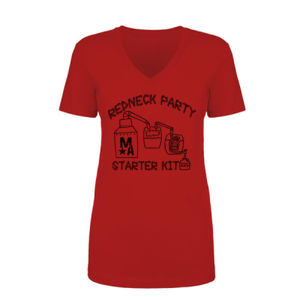 Redneck Party Starter Kit - Women's Short Sleeve V-neck T-shirt - Red Thumbnail