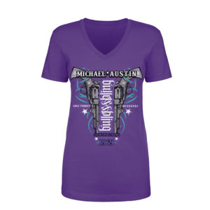 Bullets&Bling - Women's Short Sleeve V-neck T-shirt - Purple Thumbnail