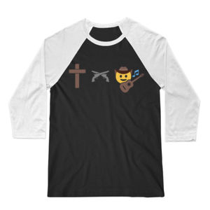 God, Guns and Country Music - 3/4 Sleeve Baseball T-shirt - Black/White Thumbnail