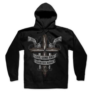 God, Guns and Country Music Hand Drawn - Pullover Hoodie - Black Thumbnail