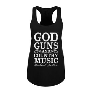 God, Guns and Country Music Text - Women's Racerback Tank Top - Black Thumbnail