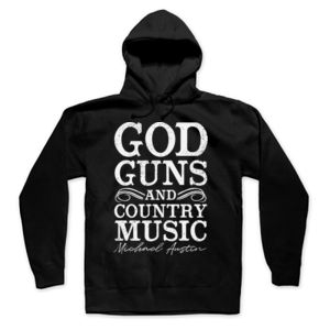 God, Guns and Country Music Text - Pullover Hoodie - Black Thumbnail