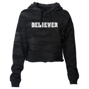 BELIEVER - PREMIUM WOMEN'S CROPPED PULLOVER HOODIE - SHADOW CAMO Thumbnail
