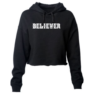 BELIEVER - PREMIUM WOMEN'S CROPPED PULLOVER HOODIE - BLACK Thumbnail