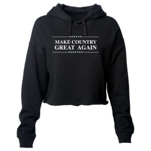 MAKE COUNTRY GREAT AGAIN - PREMIUM WOMEN'S CROPPED PULLOVER HOODIE - BLACK Thumbnail