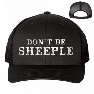 DON'T BE SHEEPLE - PREMIUM UNISEX TRUCKER HAT - BLACK Thumbnail