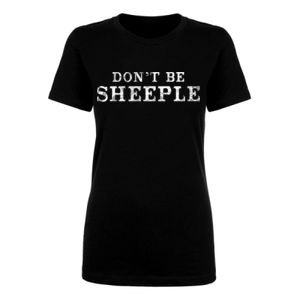 DON'T BE SHEEPLE - PREMIUM WOMEN'S S/S TEE - BLACK Thumbnail