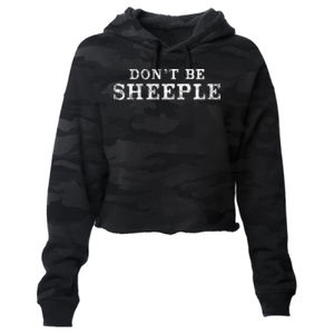 DON'T BE SHEEPLE - PREMIUM WOMEN'S CROPPED PULLOVER HOODIE - SHADOW CAMO Thumbnail