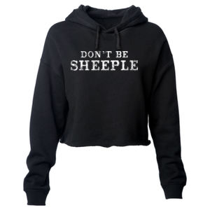 DON'T BE SHEEPLE - PREMIUM WOMEN'S CROPPED PULLOVER HOODIE - BLACK Thumbnail