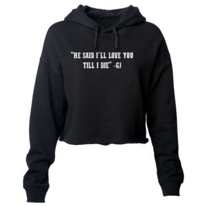 LOVE YOU TILL I DIE - PREMIUM WOMEN'S CROPPED PULLOVER  HOODIE - BLACK Thumbnail
