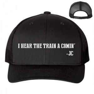 I HEAR THE TRAIN A COMIN' - PREMIUM UNISEX SNAPBACK TRUCKER HAT - BLACK Thumbnail