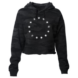 BETSY ROSS - PREMIUM WOMEN'S CROPPED PULLOVER HOODIE - SHADOW CAMO Thumbnail