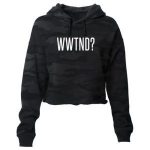 WHAT WOULD TED NUGENT DO? - PREMIUM WOMEN'S CROPPED PULLOVER HOODIE - SHADOW CAMO Thumbnail